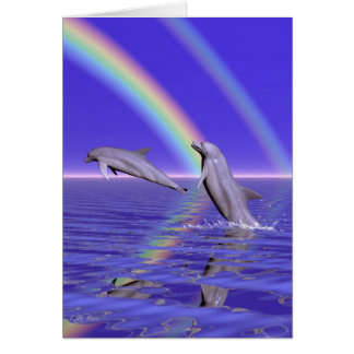 Dolphins and Rainbow Card