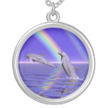 Dolphins and Rainbow Pendant