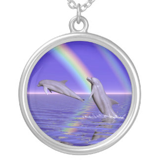 Dolphins and Rainbow Silver Plated Necklace