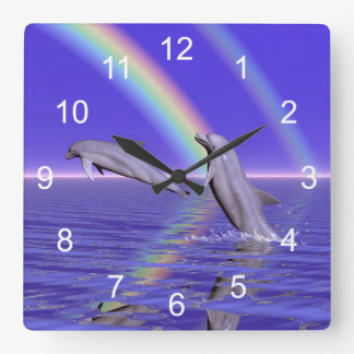 Dolphins and Rainbow Wall Clock