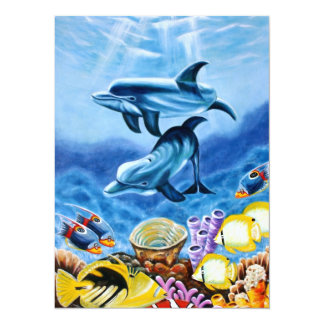 Dolphins and Tropical Fish Art 14 Cm X 19 Cm Invitation Card