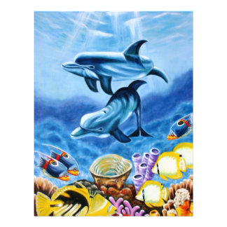 Dolphins and Tropical Fish Art 21.5 Cm X 28 Cm Flyer