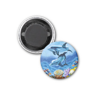 Dolphins and Tropical Fish Art 3 Cm Round Magnet