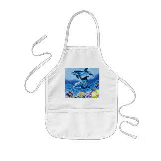Dolphins and Tropical Fish Art Kids Apron