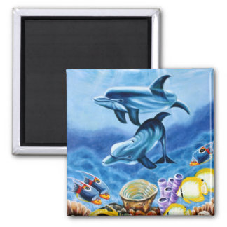 Dolphins and Tropical Fish Art Refrigerator Magnet