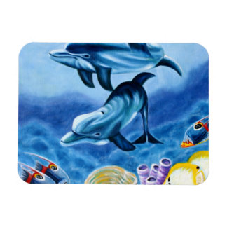 Dolphins and Tropical Fish Art Rectangular Photo Magnet