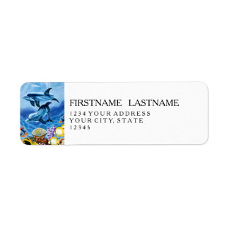 Dolphins and Tropical Fish Art Return Address Label