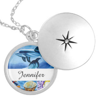 Dolphins and Tropical Fish Art Round Locket Necklace