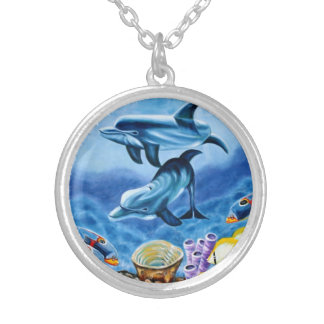 Dolphins and Tropical Fish Art Round Pendant Necklace