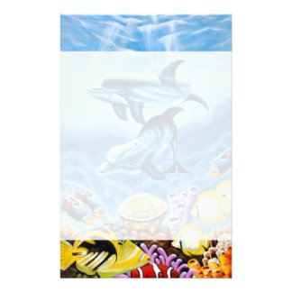 Dolphins and Tropical Fish Art Stationery