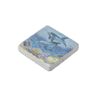 Dolphins and Tropical Fish Art Stone Magnet