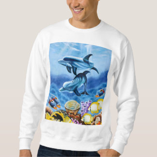 Dolphins and Tropical Fish Art Sweatshirt