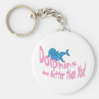 Dolphins Are Better Than You (pink text) Basic Round Button Key Ring