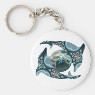 Dolphins at Dione Basic Round Button Key Ring