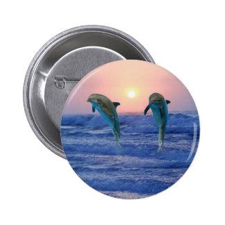 Dolphins at sunrise 6 cm round badge
