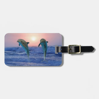Dolphins at sunrise bag tag