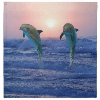 Dolphins at sunrise cloth napkin