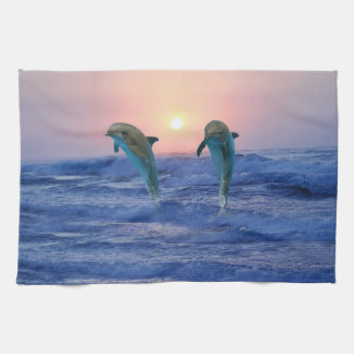Dolphins at sunrise hand towels