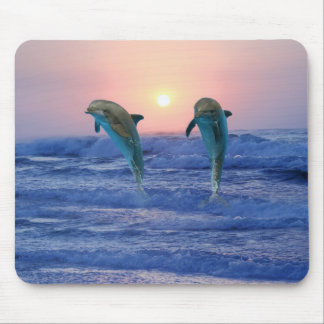 Dolphins at sunrise mouse mat