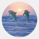 Dolphins at sunrise round sticker