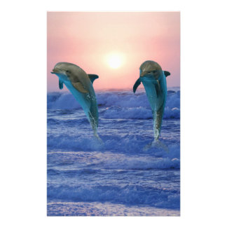 Dolphins at sunrise stationery paper