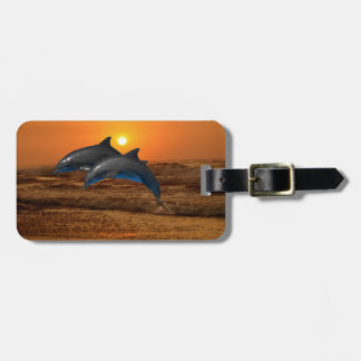 Dolphins at sunset bag tag