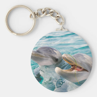 Dolphins Basic Round Button Key Ring