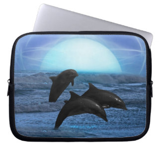 Dolphins by moonlight laptop sleeve