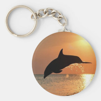 Dolphins by Sunset Key Ring
