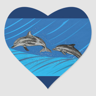 dolphins-color heart sticker