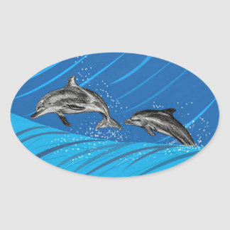 dolphins-color oval sticker
