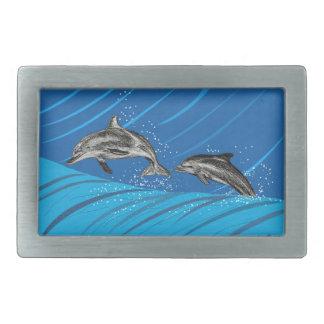 dolphins-color rectangular belt buckle