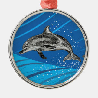 dolphins-color Silver-Colored round decoration