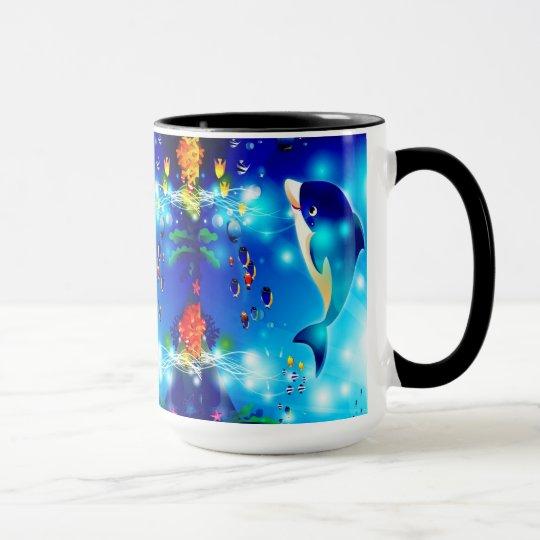 Dolphins & Colourful Sea-Life Digital Illustration Mug