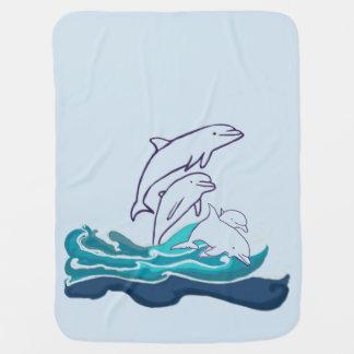 Dolphins drawing Baby Blanket, Sea Life Baby Blanket