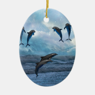 Dolphins fantasy christmas ornament
