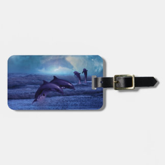 Dolphins fun and play luggage tag