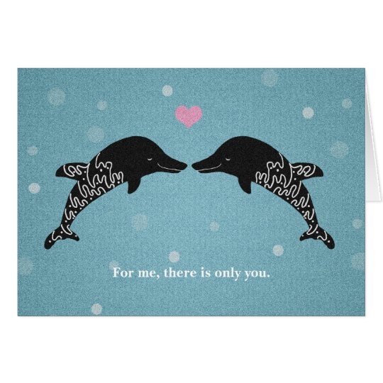 Dolphins I love you Valentine's Day Card Heart