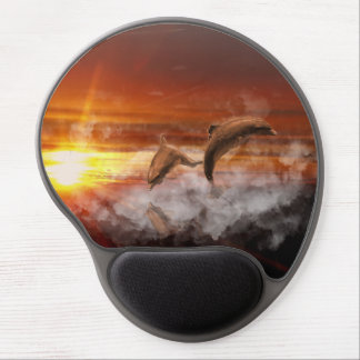 Dolphins In Clouds at Sunset Collage Gel Mouse Pad