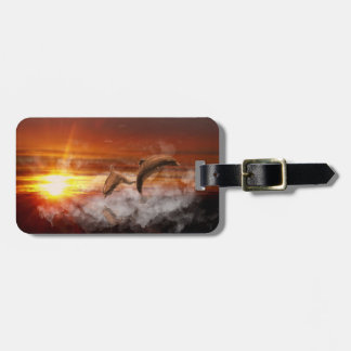 Dolphins In Clouds at Sunset Collage Tags For Bags
