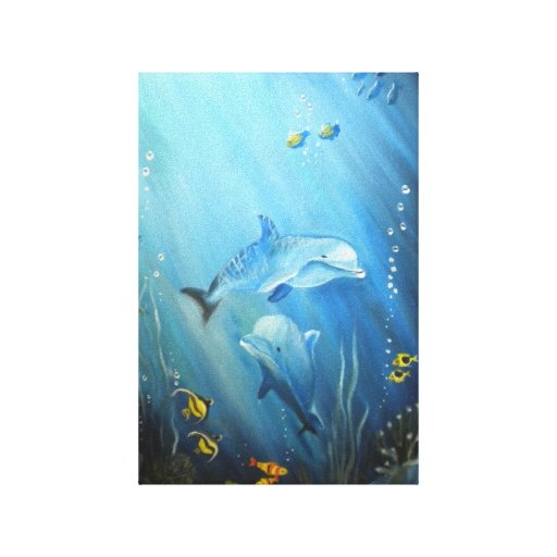 Dolphins In Deep Blue Sea Oil Painting on Canvas Stretched Canvas Prints
