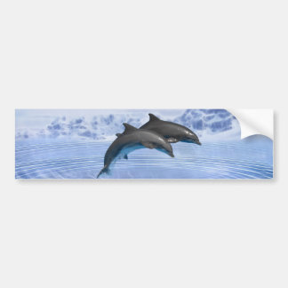 Dolphins in the clear blue sea bumper sticker
