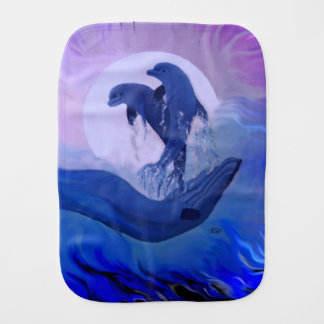 Dolphins in the Moonlight Burp Cloth