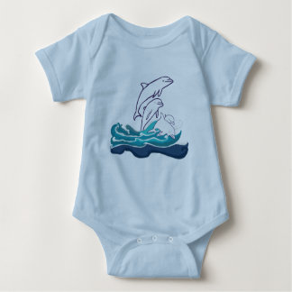Dolphins in the waves Baby Jersey Bodysuit, White Baby Bodysuit