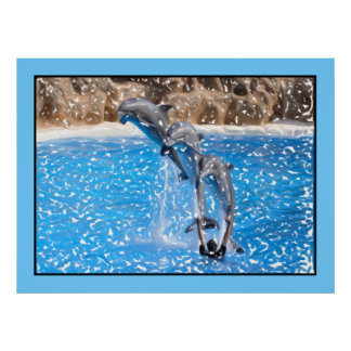 Dolphins jumping clear blue water print