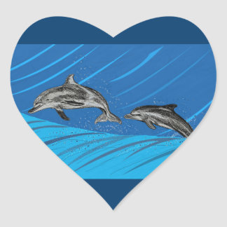 Dolphins Jumping out of the Sea Heart Sticker