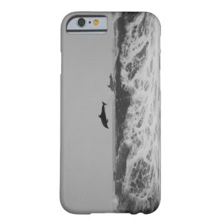 Dolphins jumping through waves in black & white barely there iPhone 6 case