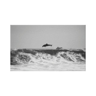 Dolphins jumping through waves in black & white canvas print