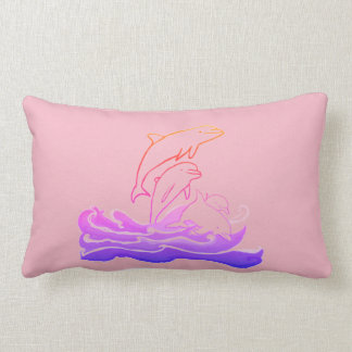 Dolphins jumping waves Lumbar Cushion 33 x 53 cm