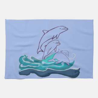 Dolphins jumping waves Tea Towel 40.6 cm x 61 cm
